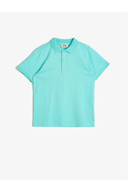 Koton Erkek Çocuk Yeşil Polo Yaka Pamuklu Düğmeli Kısa Kollu Tisört