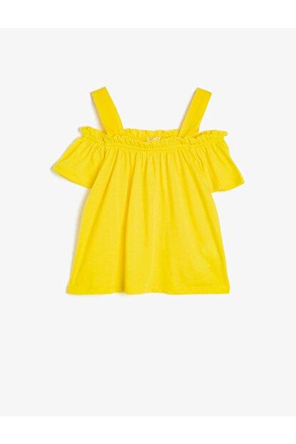 Koton Kız Çocuk Sarı Omuz Detayli T-Shirt