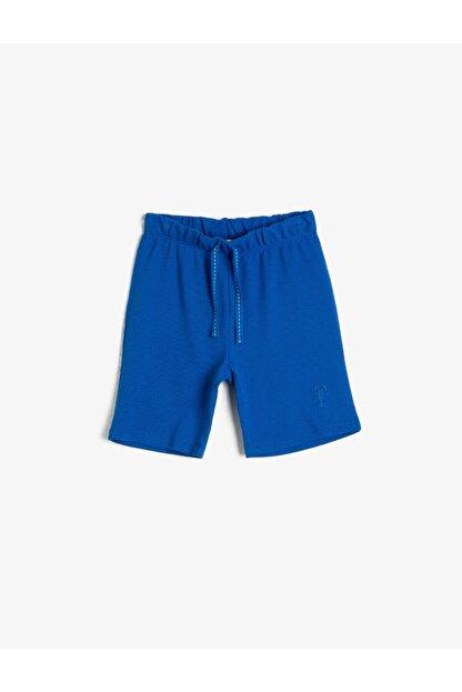 Koton Erkek Çocuk Mavi Pamuklu Pike Kumaştan Beli Kordonlu ve Lastikli Paça Nakışlı Şort
