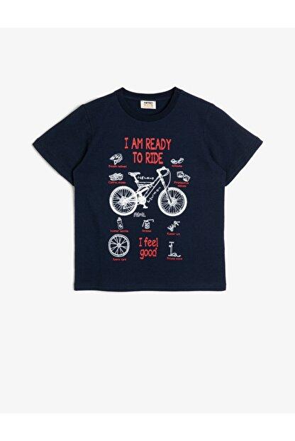 Koton Erkek Çocuk Mavi Pamuklu Bisiklet Baskili Kisa Kollu Bisiklet Yakali Tisört