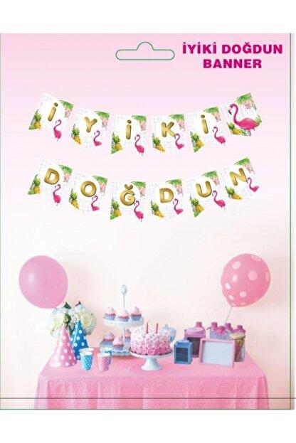 BambaPaw Flamingo Baskılı Iyi Ki Doğdun Yazılı Banner Flamingo Banner Doğum Günü Süsü Flamingo