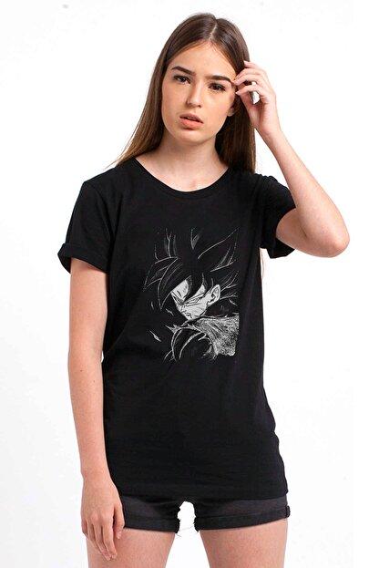 Collage Anime Dragon Ball Baskılı Siyah Kadın Örme Tshirt T-shirt Tişört T Shirt