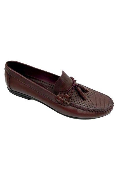 KİBPOLO Erkek Bordo Hakiki Deri Loafer Ayakkabı 3209
