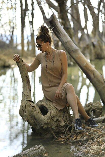 Crep Tekstil Bej Rengi Eteği Fırfırlı Elbise