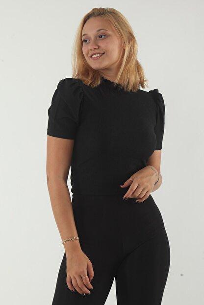 dcollection Kadın Siyah Yaka Gipeli Bluz