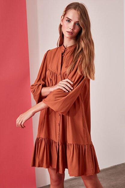 TRENDYOLMİLLA Camel Geniş Kesim Gömlek Elbise TWOAW21EL0169