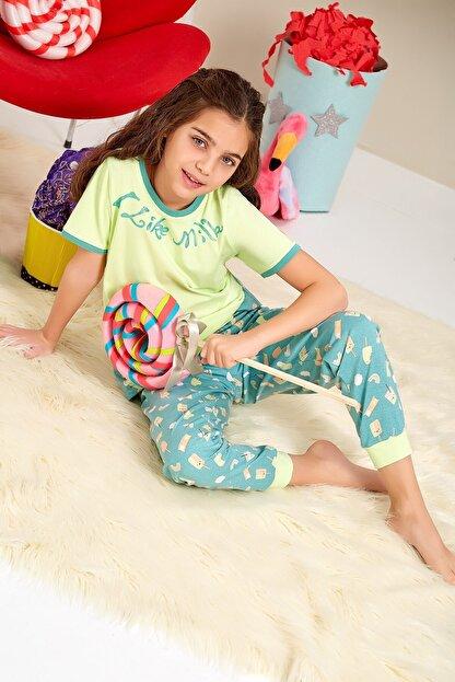 Lohusa Sepeti Kız Çocuk Milk Shake Fıstık Yeşili Pijama Takımı - 0068 Yaş 9-14
