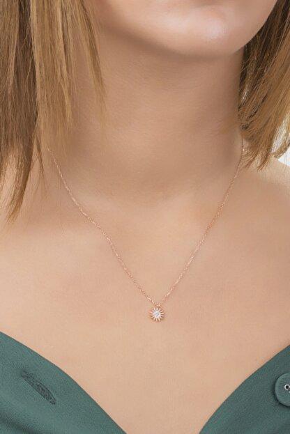 Diversity Jewelry Kadın Gümüş Zirkon Taşlı Rose Güneş Model Kolye