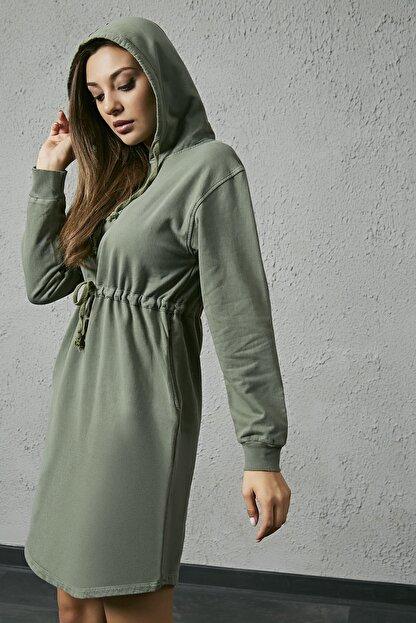 Sateen Kadın Haki Kapüşonlu Sweat Elbise