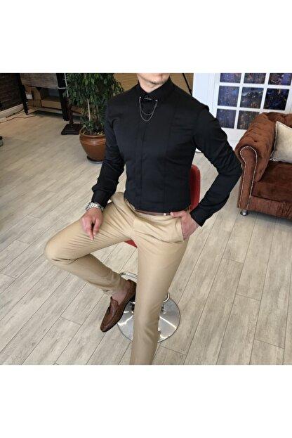 TerziAdemAltun Erkek Siyah  Italyan Kesim Slim Fit Saten Zincirli Gömlek T4090