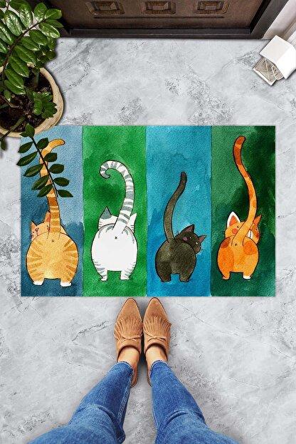 Evsebu Renkli Kediler Dekoratif Kapı Önü Paspası
