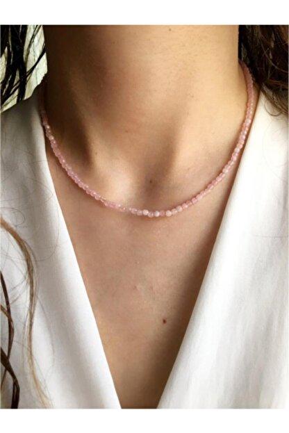 Serline Desing Kadın 925 Ayar Gümüş Patentli Ince Pembe Kuvars Doğaltaşlı Gümüş Kolye