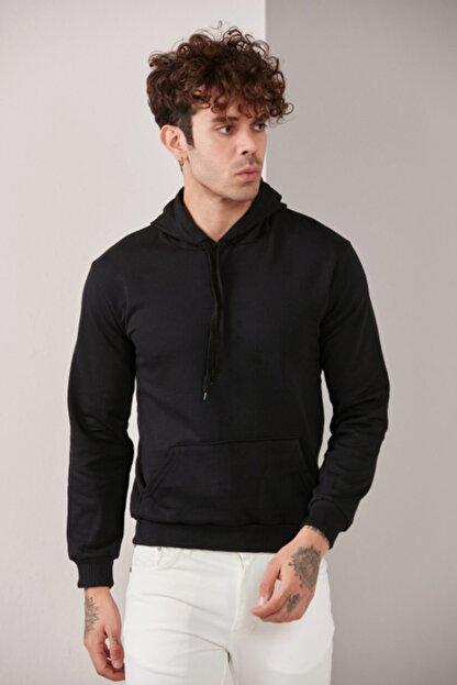 CATSPY Erkek Siyah Kapüşonlu Sweatshirt
