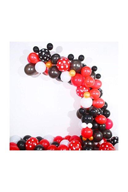 MERİ PARTİ Mickey Mouse Konsept Siyah Kırmızı Beyaz Metalik Balon Puanteli Ve Balon Zinciri