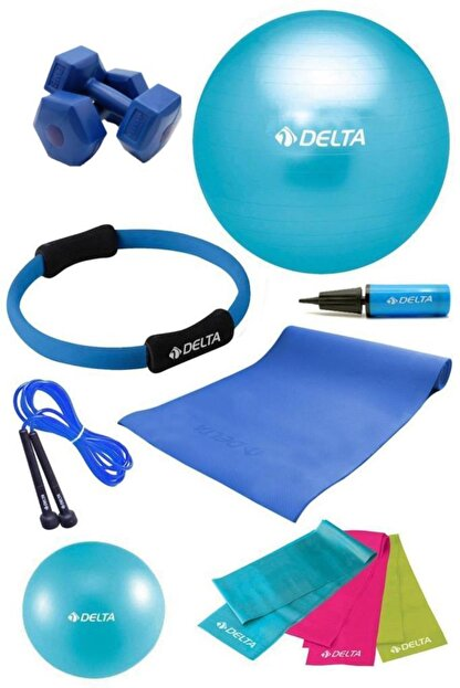 Delta Delta PTS 65 cm Pilates Topu Çemberi 4 mm Minder 2 kg Dambıl Seti