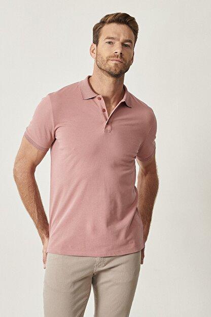 Altınyıldız Classics Erkek Gül Kurusu Polo Yaka Cepsiz Slim Fit Dar Kesim %100 Koton Düz Tişört