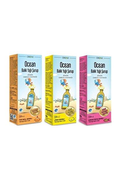 Orzax Ocean Omega 3 Portakal+ Limon + Karışık Balık Yağı Şurubu 3LÜ SET