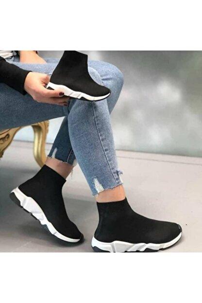 MİRKET Kadın Siyah Çoraplı Beyaz Taban Sneakers Ayakkabı