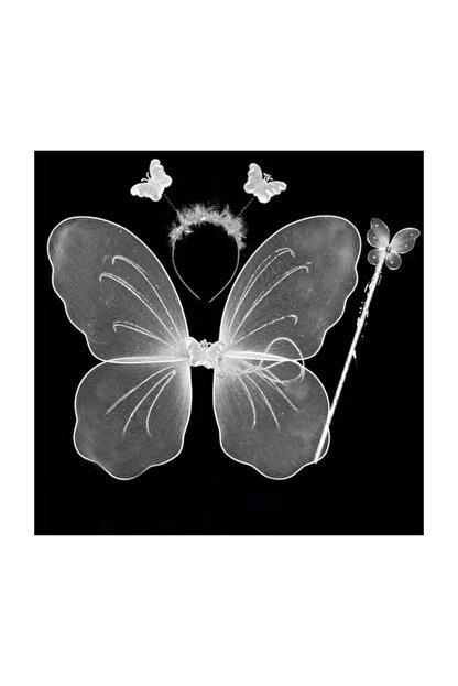 Pandoli Beyaz Renk Kelebek Kanat Set 50 cm Kanat Asa Taç 3 Lü Set