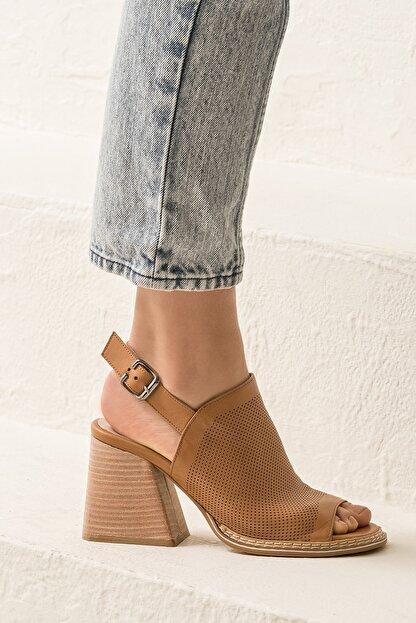 Elle PATRA Hakiki Deri Taba Kadın Sandalet