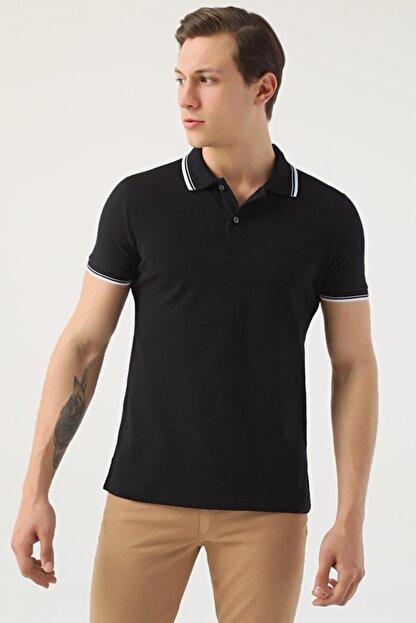 D'S Damat Erkek Siyah Slim Fit Pike Dokulu T-shirt