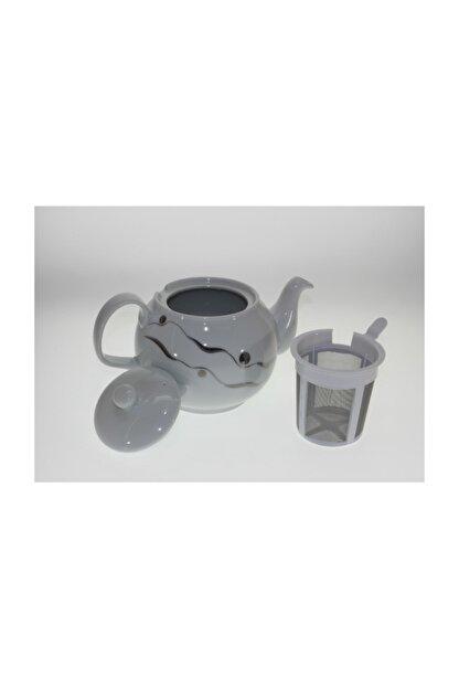 Porland Porselen Kapaklı Gümüş Model Süzgeçli Demlik