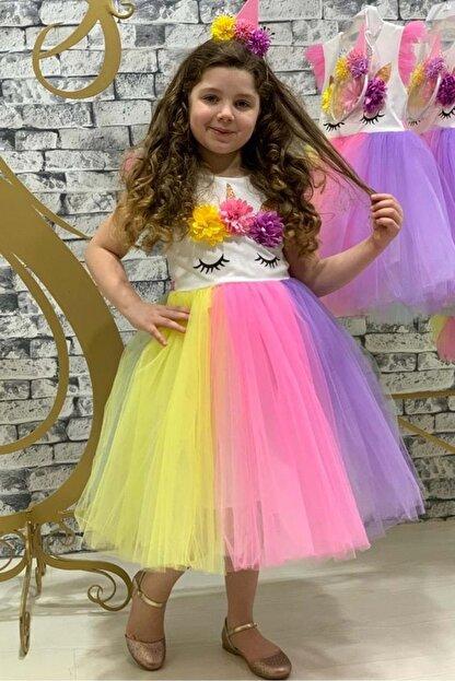 Mnk Rengarenk Sanç Bantlı Kız Çocuk Parti Elbisesi