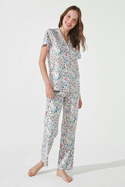 Penti Kadın Gri Gift Light Floral Gömlek Pantolon Takımı