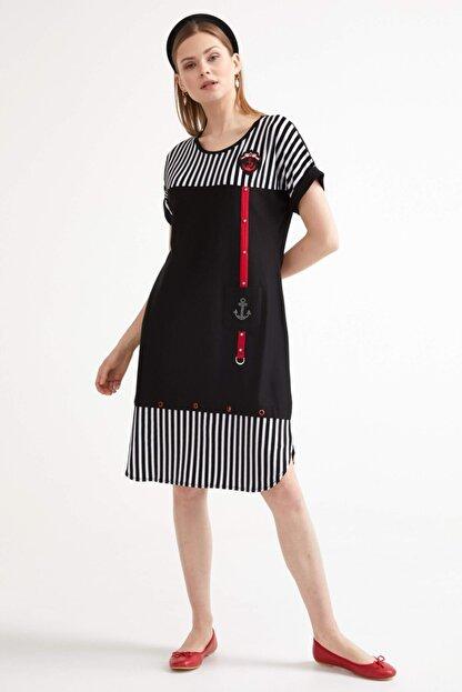 Sementa Marine Kısa Kol Kadın Elbise - Siyah