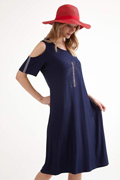 Sementa Pencere Kol Büyük Beden Taş Detaylı Kadın Elbise - Lacivert