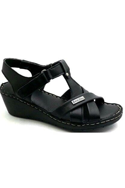 PUNTO -390107- Siyah %100 Deri Kadın Dolgu Taban Sandalet