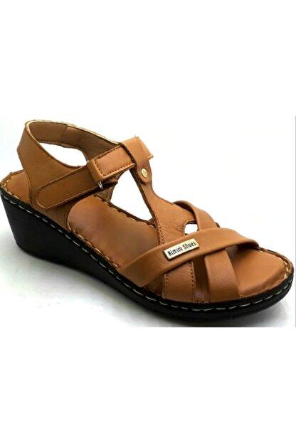 PUNTO -390107- Taba %100 Deri Kadın Dolgu Taban Sandalet