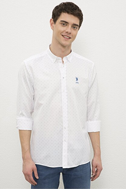 US Polo Assn Beyaz Erkek Gömlek G081Sz004.000.1180091