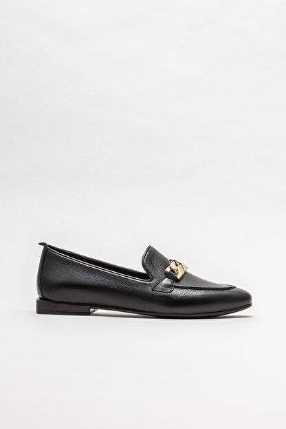 Elle Kadın Siyah Deri Loafer