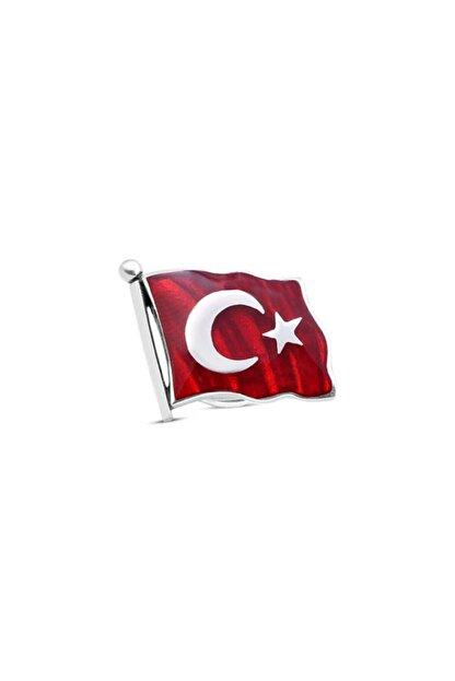SilverPlus Erkek Gümüş Mineli Türk Bayrağı Rozet KG4523