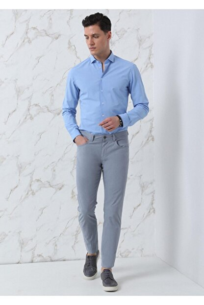 Ramsey Erkek Mavi Dokuma Uzun Kollu Gömlek