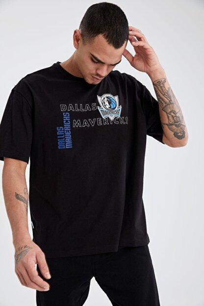Defacto Erkek Nba Lisanslı Oversize Fit Bisiklet Yaka Pamuklu Tişört