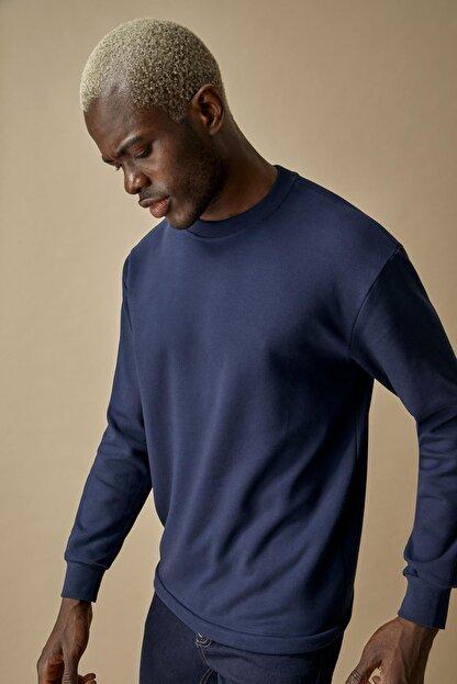 Defacto Oversize Fit Bisiklet Yaka Pamuklu Basic Sweatshirt