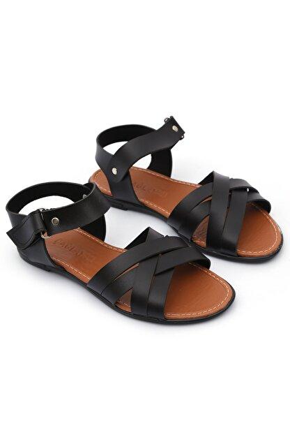 PNR TERLİK Kadın Siyah Sandalet Cırtlı Gündelik