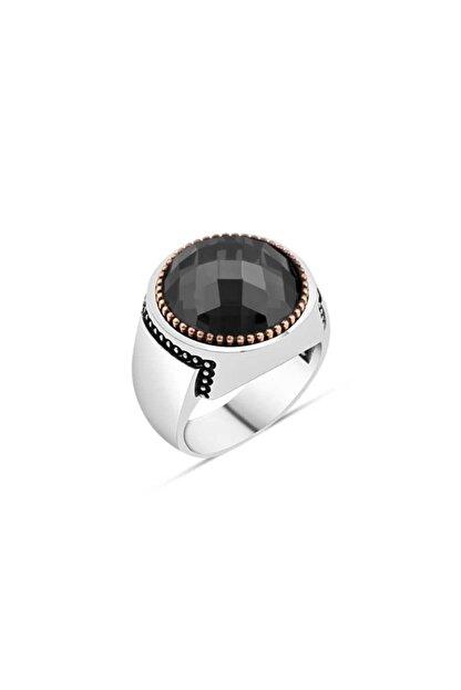 SilverPlus Erkek Siyah Zirkon Taşlı Gümüş Yüzük KG1254