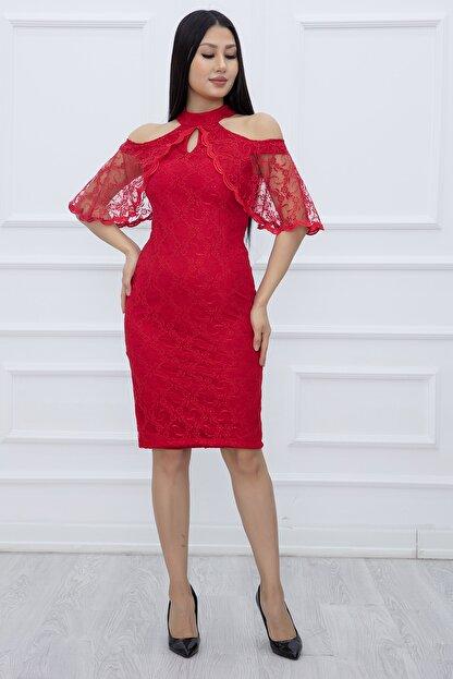 PULLIMM Kadın Kırmızı Dantel Kısa Elbise 13327