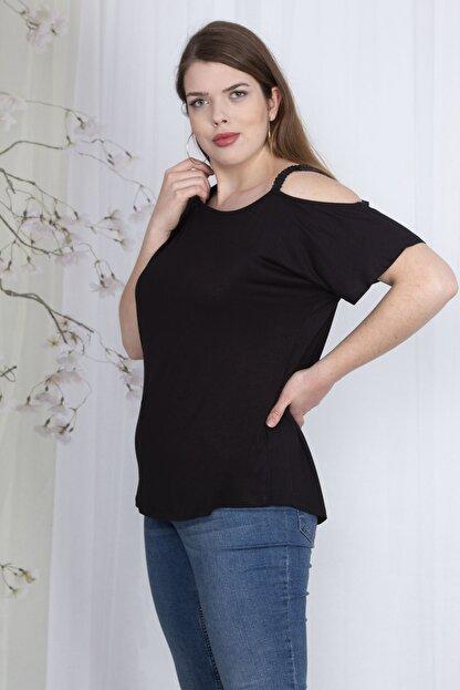 Şans Kadın Siyah Payet Askılı Bluz 65N23562