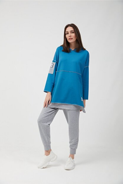 oia Kadın İndigo Pamuklu Tunik Pantolon Takım  W-0900