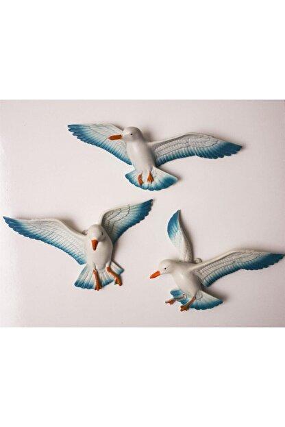 Crey Hediyelik Üçlü Kuş Duvar Süsü, Üç Boyutlu Martı, Dekoratif Aksesuar, Balkon Süsü, Bahçe Süsü, Hediyelik Eşya