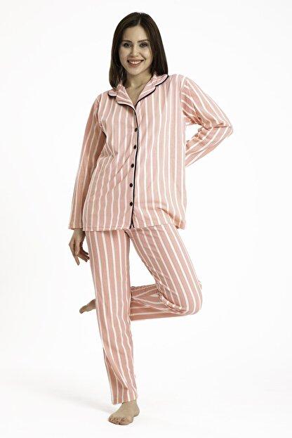 TAMPAP Gömlek Yaka Düğmeli Kadın Pijama Takımı 3010