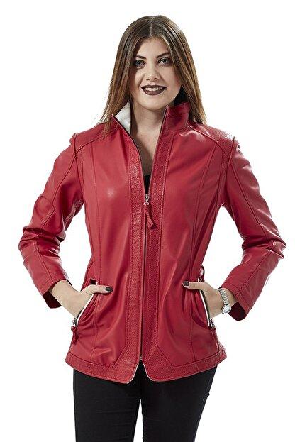 Deriza Kadın Dorette Kırmızı Deri Ceket 2075