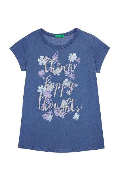 Benetton Mavi Kız Çocuk Kelebek Çiçek Baskılı Tshirt