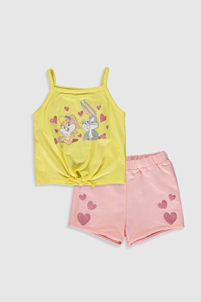LC Waikiki Looney Tunes Kız Bebek Sarı Fpr Bebek Takımları