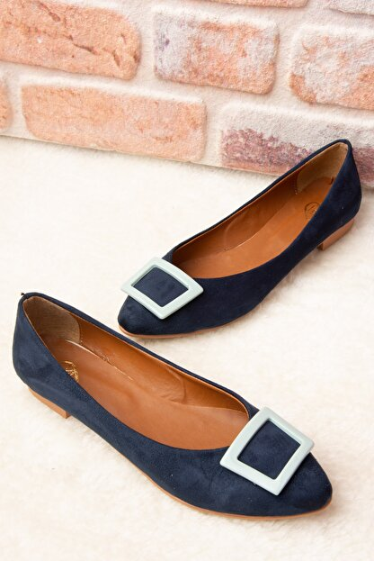 Fox Shoes Lacivert/Su Yeşili Kadın Babet H726900102