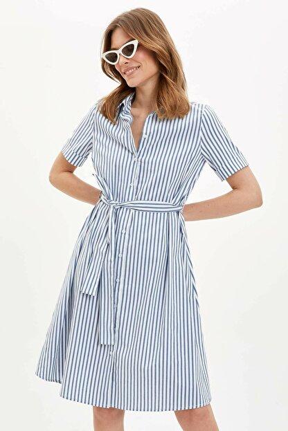 Defacto Kadın Mavi Regular Fit Çizgili Dokuma Elbise N0545AZ.20SP.BE399